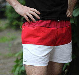Шорти мужские летние на резинке Lacoste красные. Живое фото. Реплика