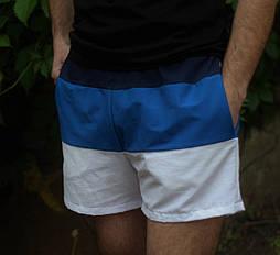 Шорти мужские летние на резинке Lacoste синие. Живое фото. Реплика