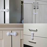 Крючок - блокиратор на шкафы и тумбочки. Защита на мебель от детей. Белый.