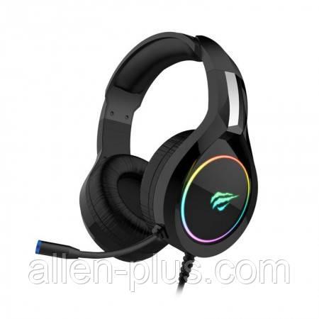 Наушники игровые с микрофоном и подсветкой HAVIT HV-H2232D GAMING, регулятор громкости, black