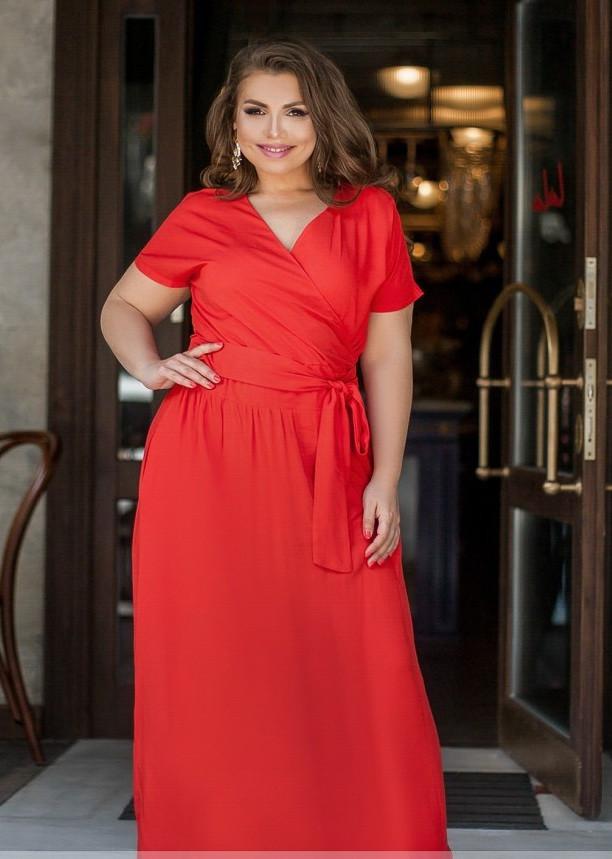 Платье летнее с вырезом на запАх из штапеля Большой размер 50,52,54,56,58