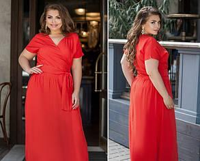 Платье летнее с вырезом на запАх из штапеля Большой размер 50,52,54,56,58, фото 2