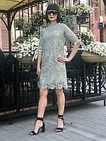 Платье женское кружевное ментоловое миди D&G копия Lux рукав 3/4 яркое стильное легкое прямое