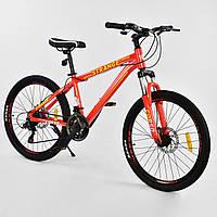 Спортивный велосипед оранжевый CORSO Strange 24 дюймов 21 скорость алюминиевая рама детям от 8 лет