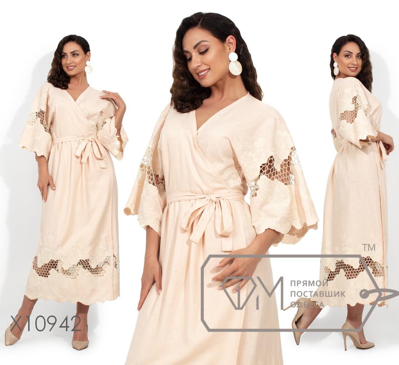 Платье на запах из натурального льна с вышивкой на рукавах-кимоно и подоле
