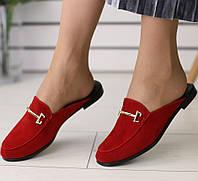36,39 Модные женские замшевыесабо шлепанцы шлепки мюли на низком ходу на квадратном каблуке красные EN66SR11V