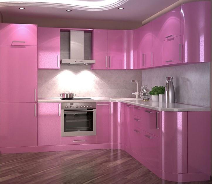 фото кухонь розового цвета девушка