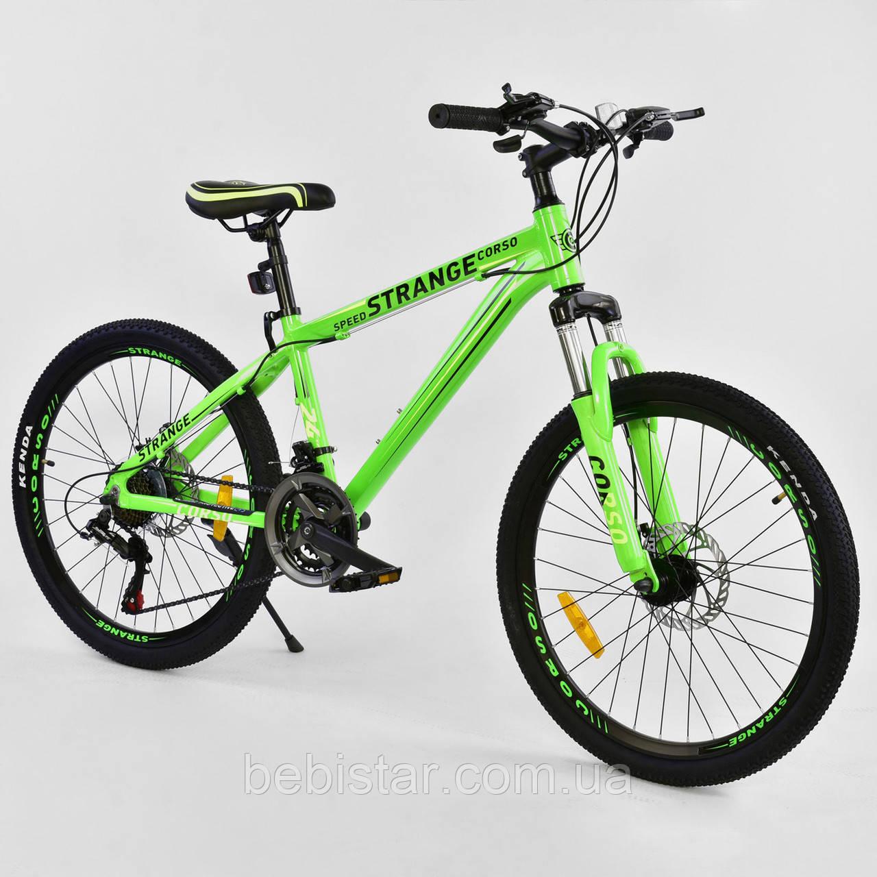 """Спортивный велосипед зеленый CORSO Strange 24 дюймов 21 скорость алюминиевая рама 13"""" детям от 8 лет"""