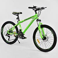 Спортивный велосипед зеленый CORSO Strange 24 дюймов 21 скорость алюминиевая рам детям от 8 лет