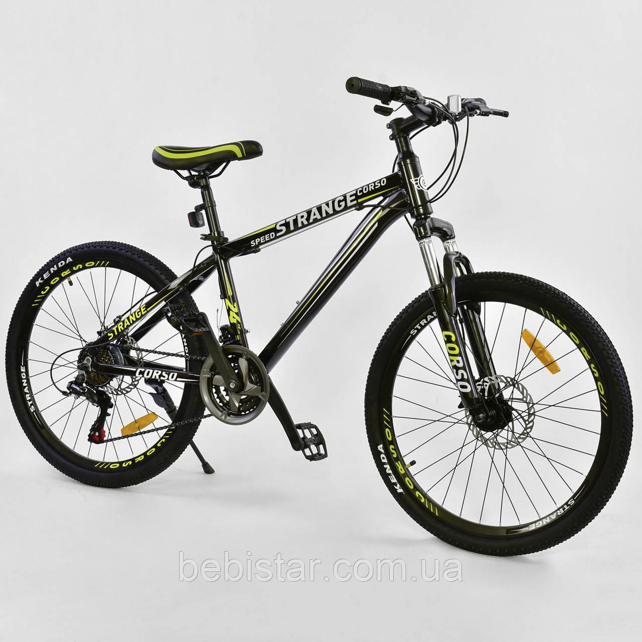 Спортивный велосипед черный CORSO Strange 24 дюймов 21 скорость алюминиевая рама детям от 8 лет