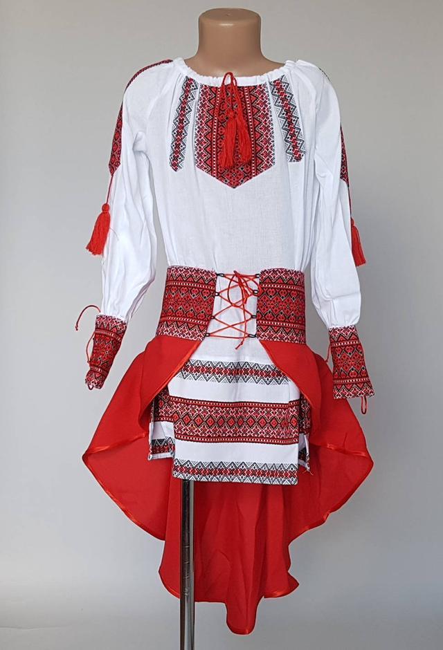 фотографія дитячий костюм вишиванка з червоною спідницею