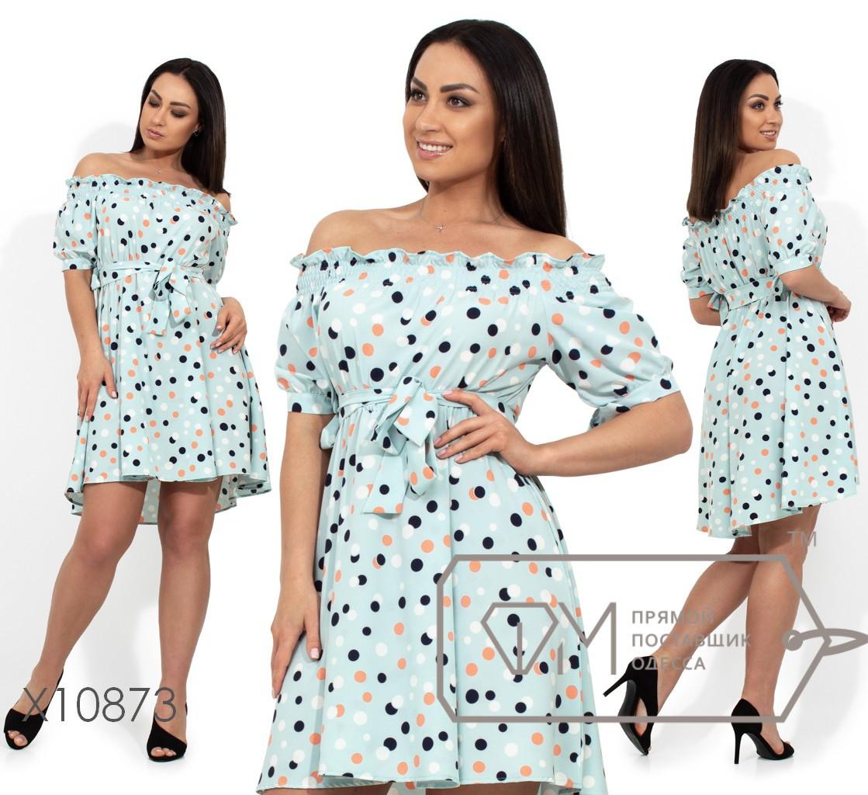 Платье-мини с вырезом анжелика, короткими рукавами на завязках по внутренней стороне, завышенной талией под по