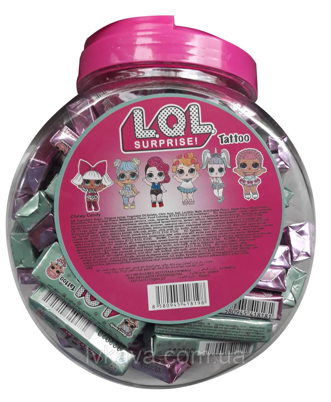 Жевательные конфеты L.O.L. surprise! tattoo  ,  9 гр х 100 шт