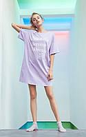 Туника (платье-футболка) женская летняя, домашняя, пляжная, размер M (сиреневая)