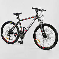Спортивный велосипед черный с красным CORSO DRAGON 26 дюймов 21 скорость алюминиевая рама 17дюймов