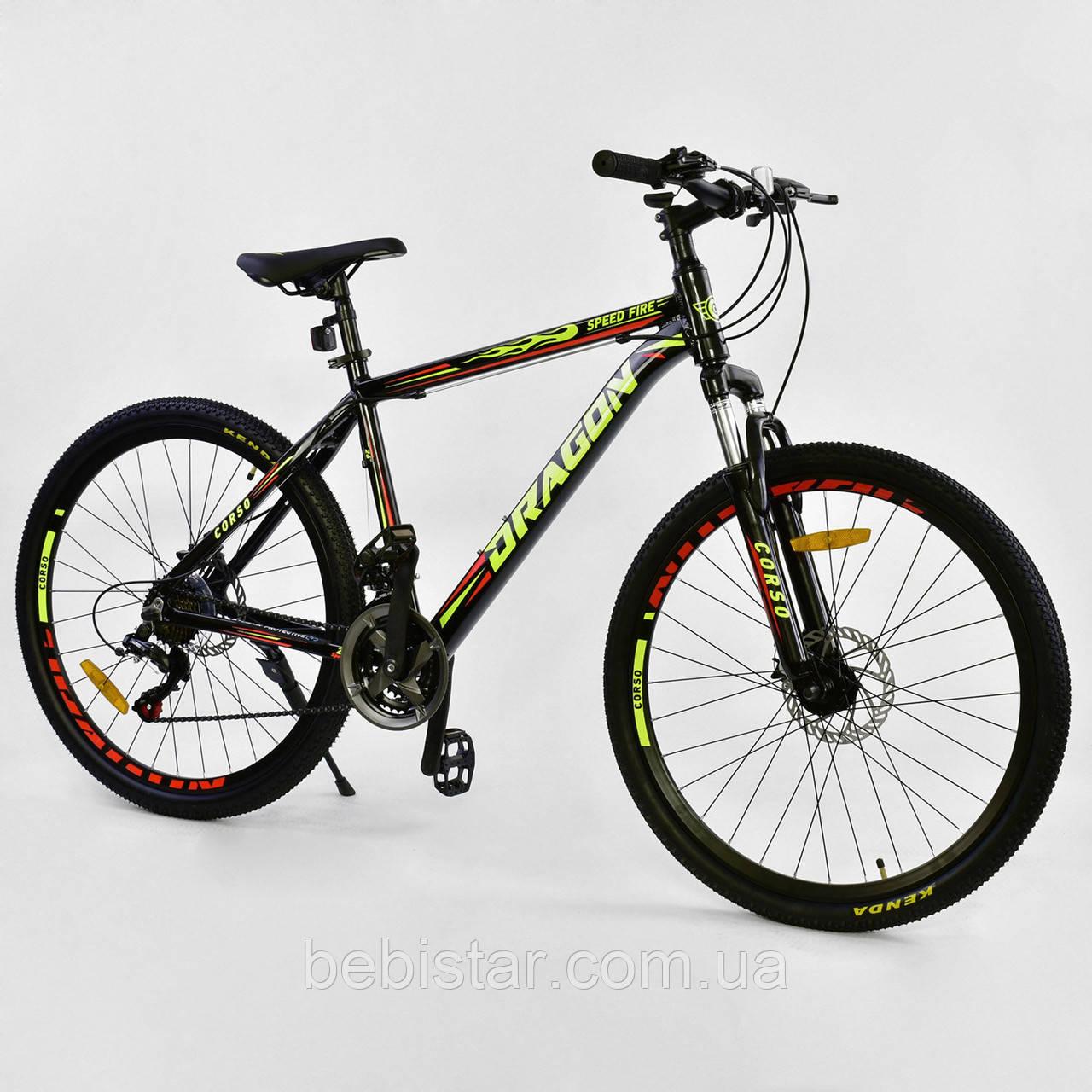 Спортивный велосипед черный с желтым CORSO DRAGON 26 дюймов 21 скорость алюминиевая рама 17дюймов