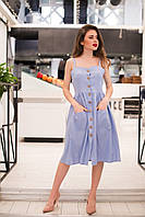 Легке літнє жіноче лляне плаття на бретельках. Арт - 2519/64, фото 1