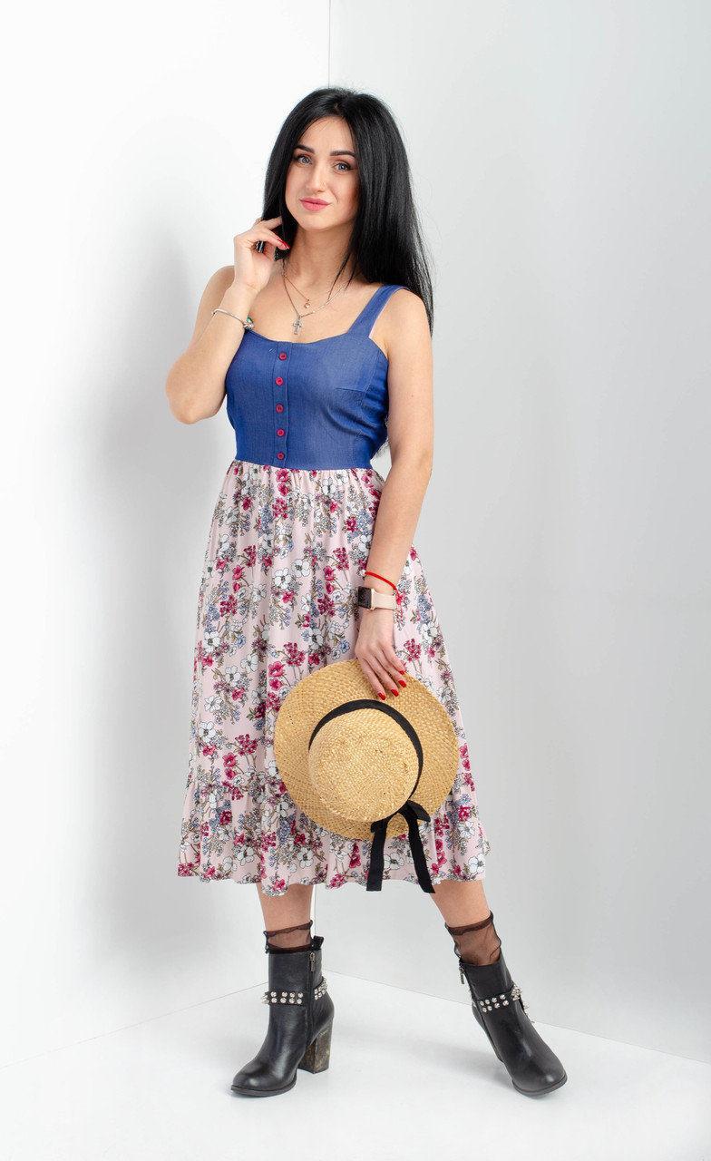 Літній жіночий сарафан з квітковою спідницею