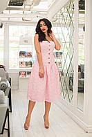 Летнее женское легкое платье на бретельках из прошвы на батистовой подкладке (розовый). Арт - 2521/64, фото 1