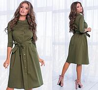 Женское летнее коттоновое платье с рукавом три четверти.Размеры:42-46.+Цвета, фото 1