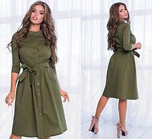 Женское летнее коттоновое платье с рукавом три четверти.Размеры:42-46.+Цвета