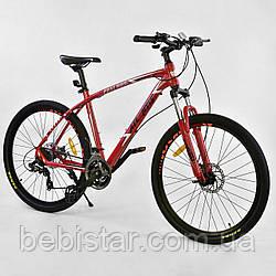Спортивный велосипед красный CORSO ATLANTIS 27,5 дюймов 24 скорости алюминиевая рама 19 дюймов