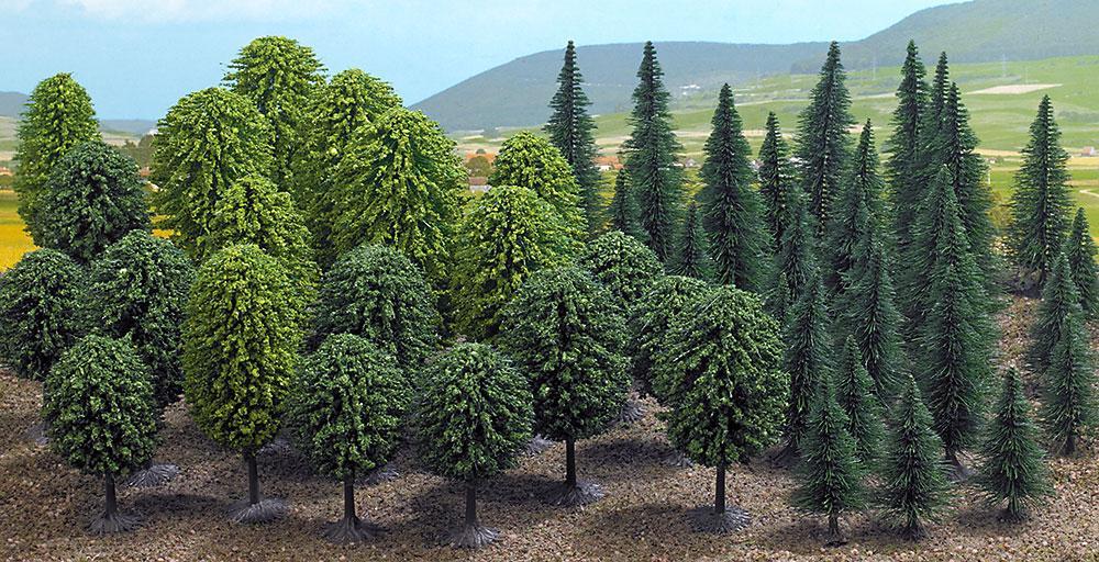 """Busch 6591 Набор Super-Spar-Pack из 50ти деревьев, """"мешаный лес """" высотой деревьев30-55 мм для масштаба N.T"""