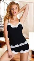 Пижама женская летняя черная майка на тонких бретелях, шорты Eldar ARIA