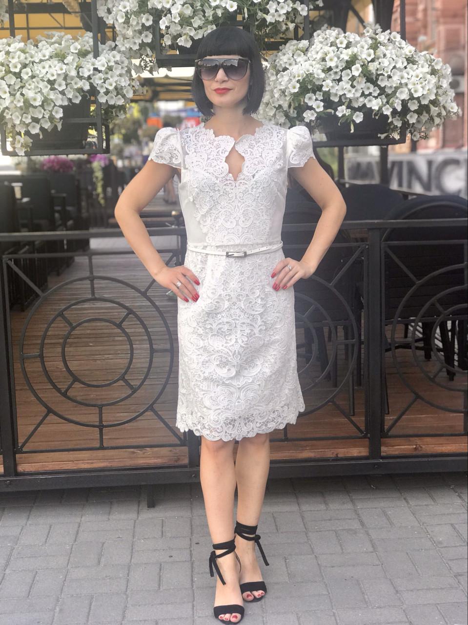 Платье кружевное в стиле Karen Millen нарядное белое