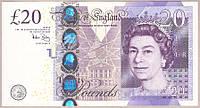 Банкнота Великобритании 20 фунтов 2016 г. Пресс - Unc