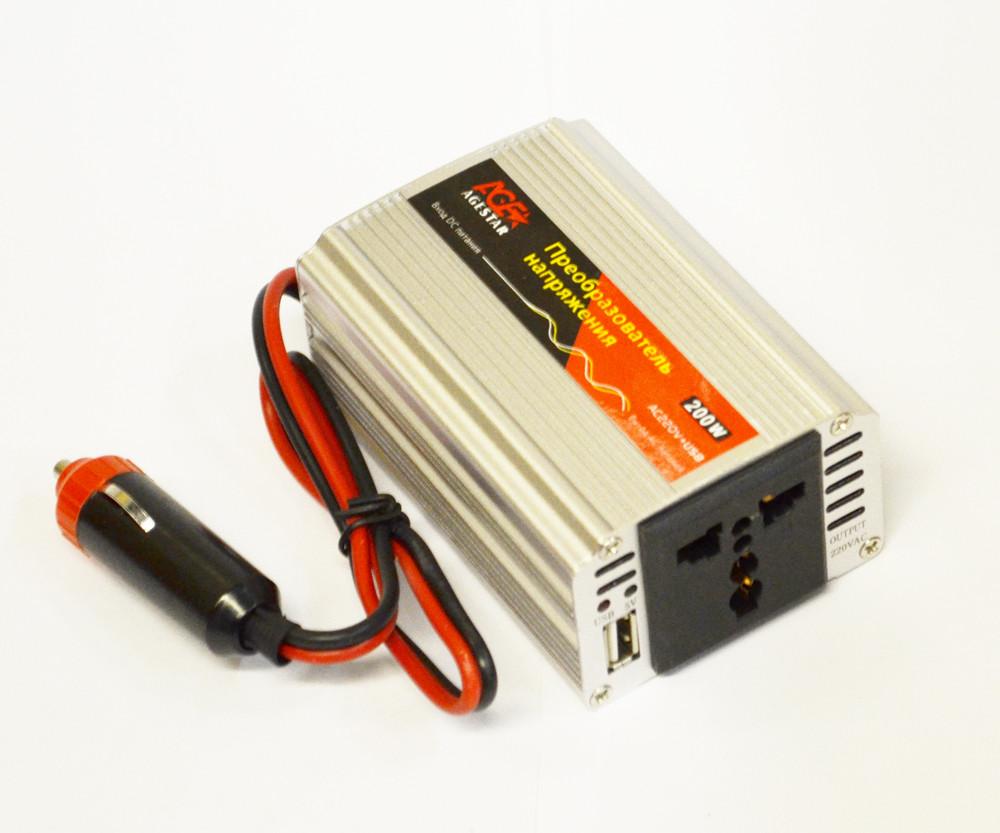 Инвертор автомобильный с12 на 220V,+ USB 5V, 200W