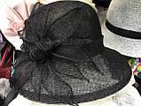 Легка чорна капелюх з соломки синамей поля 8 см розмір 55-59 см, фото 2