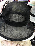 Легка чорна капелюх з соломки синамей поля 8 см розмір 55-59 см, фото 3