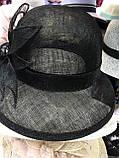 Легкая черная шляпа из соломки синамей  поля 8 см размер 55-59 см, фото 3