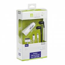 Набор: автомобильное зарядное устройство, кабель, наушники M-Life (ML0607) 2,1/1A