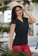 e70e2827a44 Легкая летняя женская блуза с V-образным вырезом (черный). Арт-2524