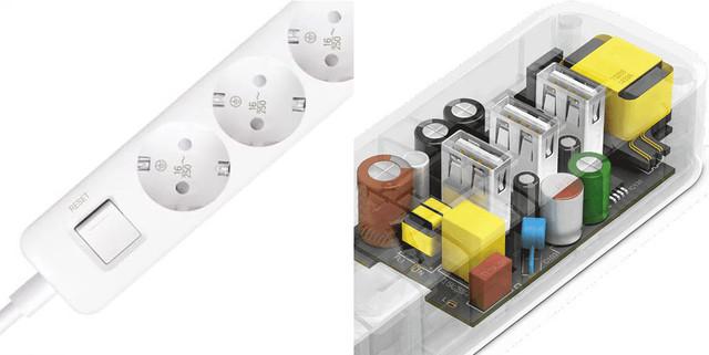 Удлинитель Xiaomi Mi Power Strip 3 USB / 3 розетки XMCXB04QM Белый