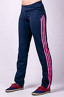 """Спортивные брюки женские трикотаж """"Фитнес 2"""" синие"""