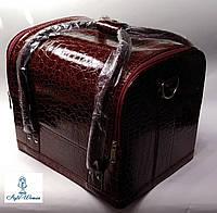 Бьюти кейс чемодан для мастера салонов красоты из кожзама на змейке бордо кроко