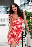 Стильне жіноче коттоновое сукня-міні в клітину на запах (червоний). Арт - 2526/64, фото 1