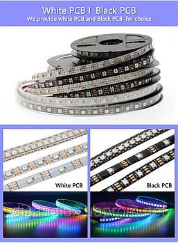 Светодиодная Адресная Smart LED лента WS2812B 5V 144Led/m  1m RGB  IP30