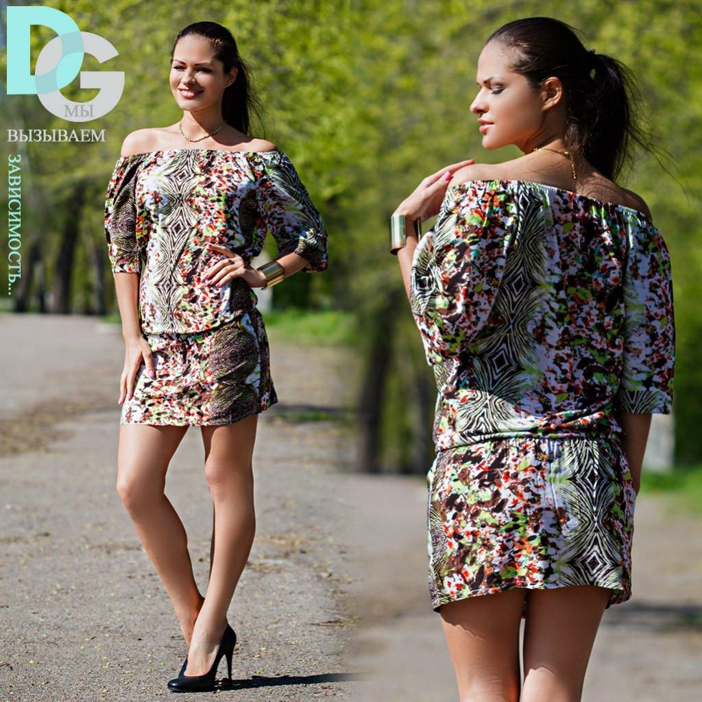 Платье открытые плечи короткое штапель