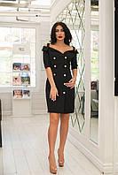 Элегантное женское облегающее платье декорировано золотыми пуговицами (черный). Арт - 2528/64, фото 1