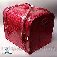 Бьюти кейс чемодан для мастера салонов красоты из кожзама на змейке малина кроко