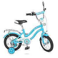 "Велосипед детский 14"" Profi L1494 Star, голубой, зеркало, звонок, доп.колеса"