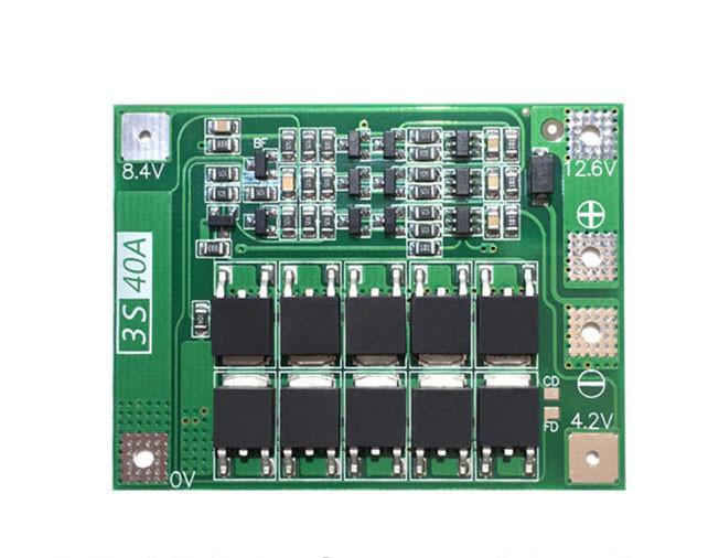 BMS 3S 40A контроллер заряда, разряда 12.6V для 3-х литий-ионных аккумуляторов