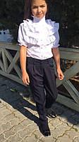 Блузка для девочки из хлопка с рюшами и рукавом фонариком (К27674), фото 1