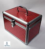 Б'юті алюмінієвий кейс косметологів із ключем червоний металік кубик