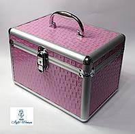 Бьюти кейс алюминиевый косметологам с ключом розовый металлик кубик