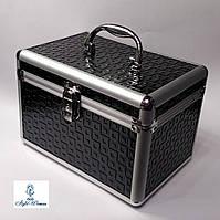 Бьюти кейс алюминиевый косметологам с ключом черный кубик